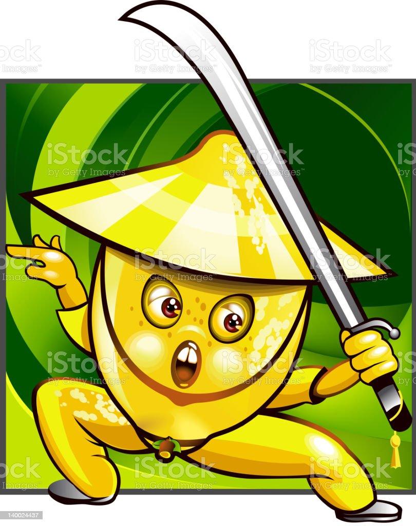 Lemon kung fu vector art illustration