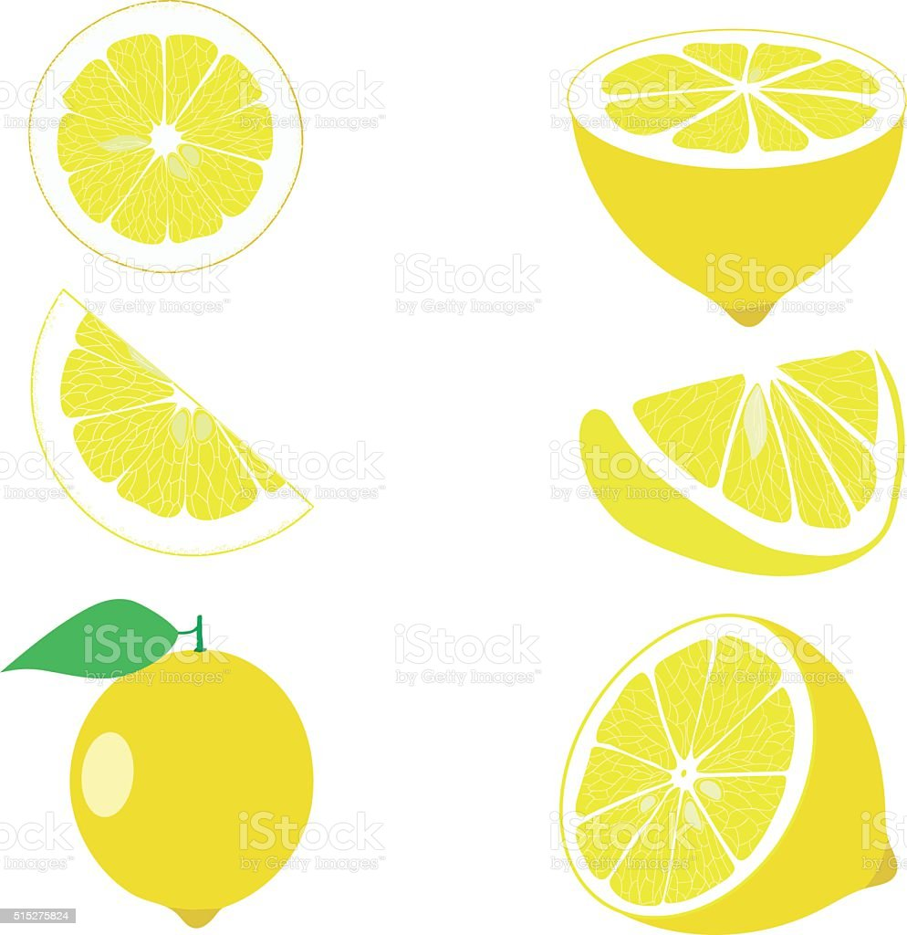 Lemon, lemon slices, set of lemons, vector illustrations vector art illustration