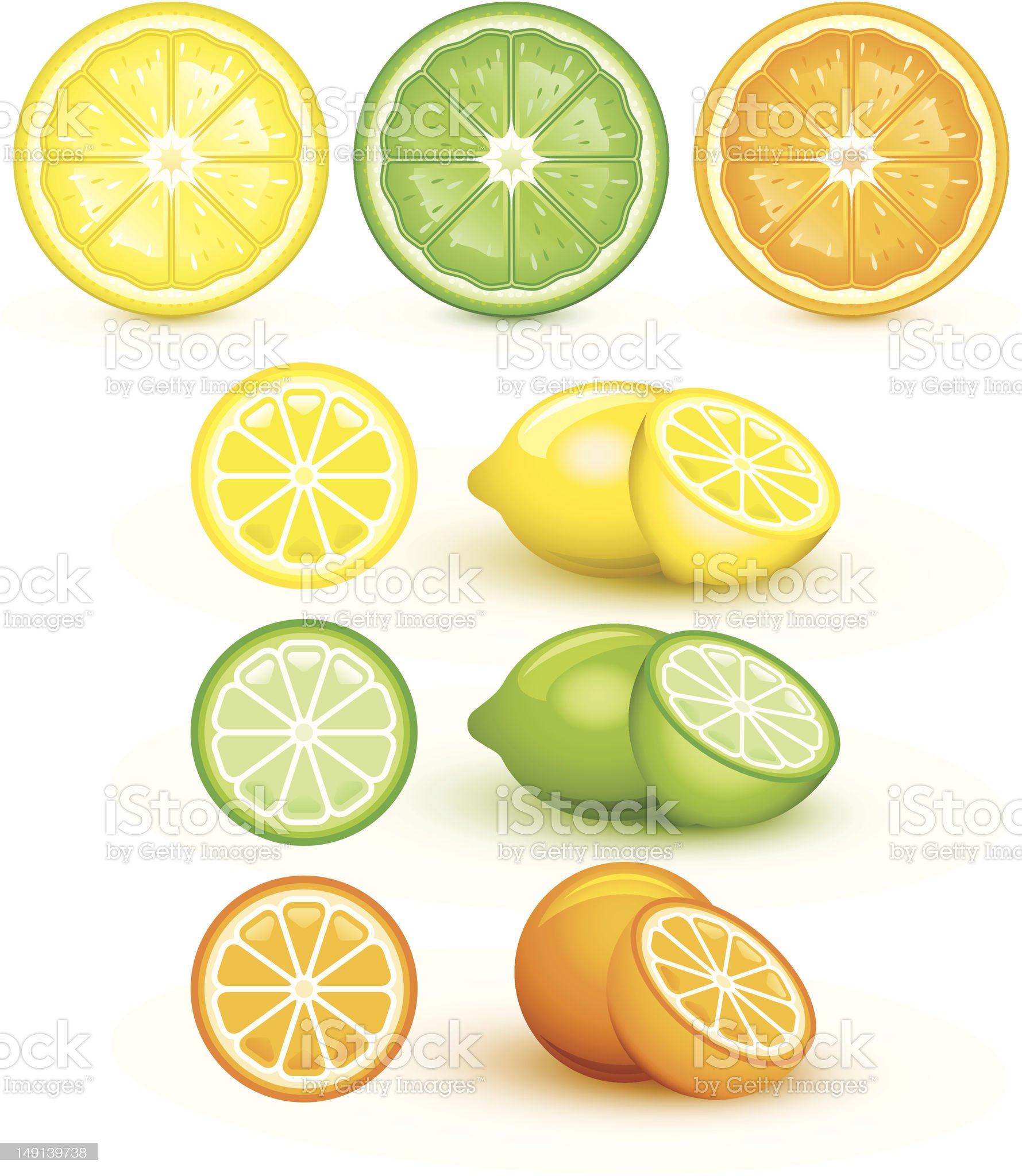 Lemon, lime, and orange royalty-free stock vector art