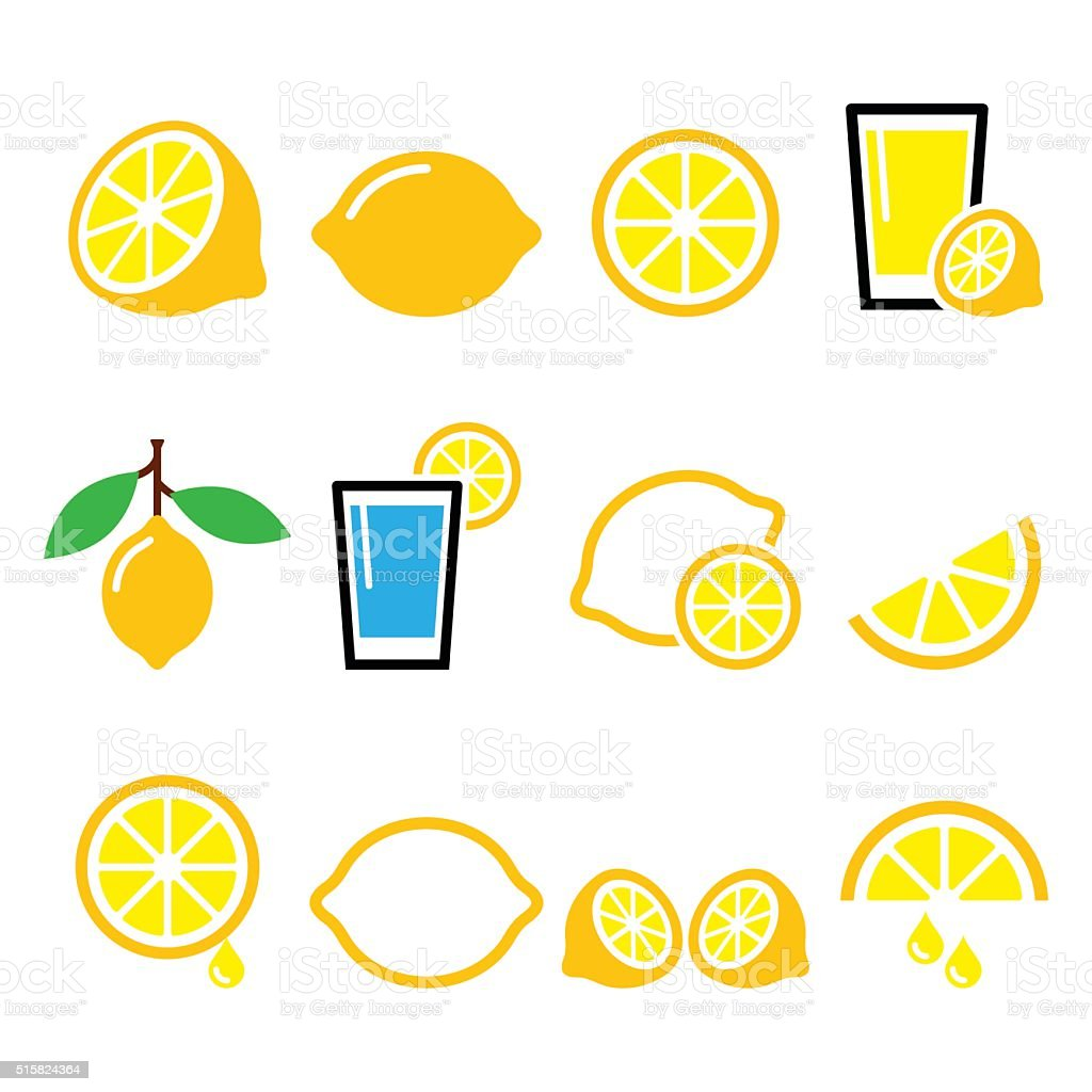 Lemon, lime icons set vector art illustration