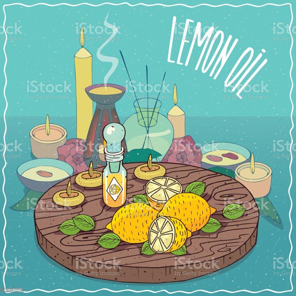 Lemon oil used for aromatherapy vector art illustration
