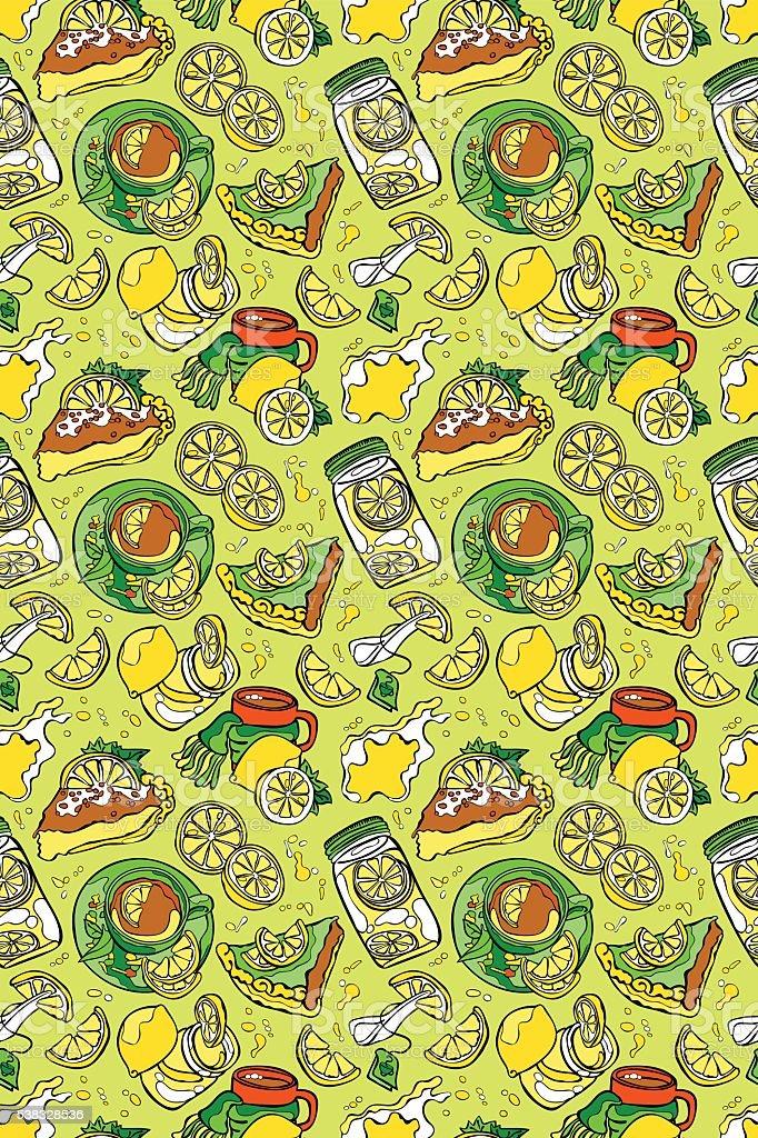 Lemon pattern: lemon fruit, pastries, lemon pie, lemon tea. vector art illustration