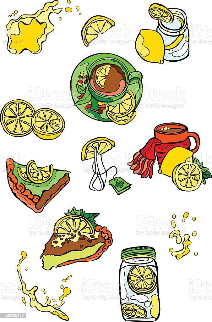 Lemon pattern: lemon fruit, pastries, lemon tea. vector art illustration