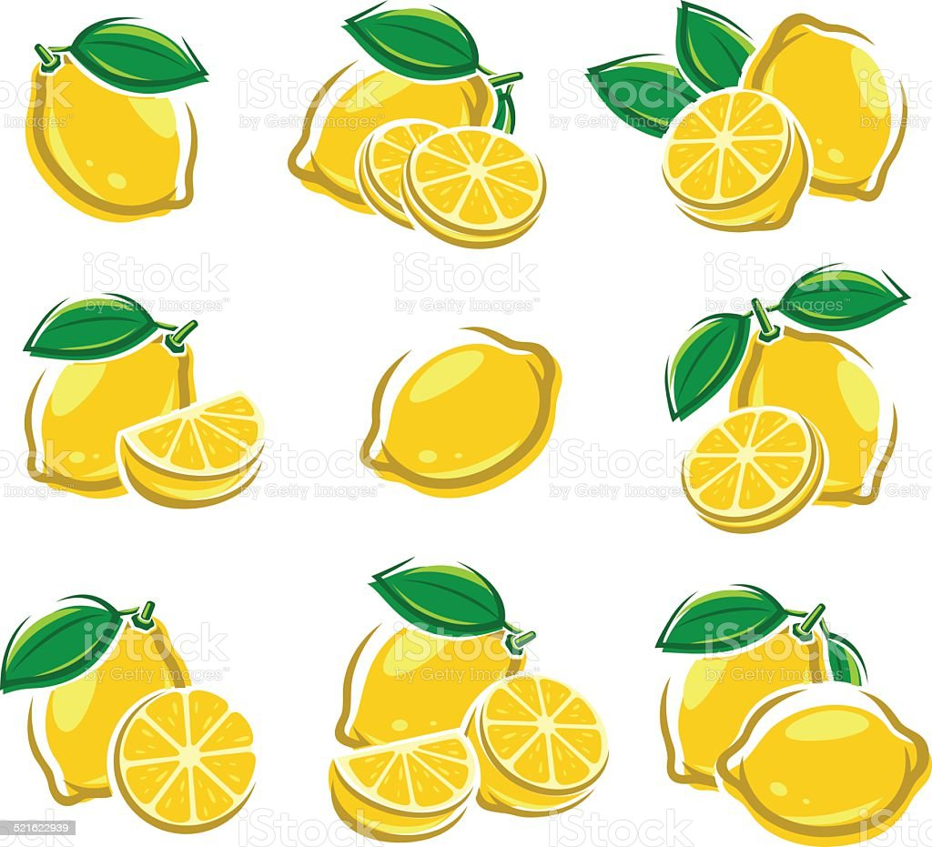 Lemon set. Vector vector art illustration