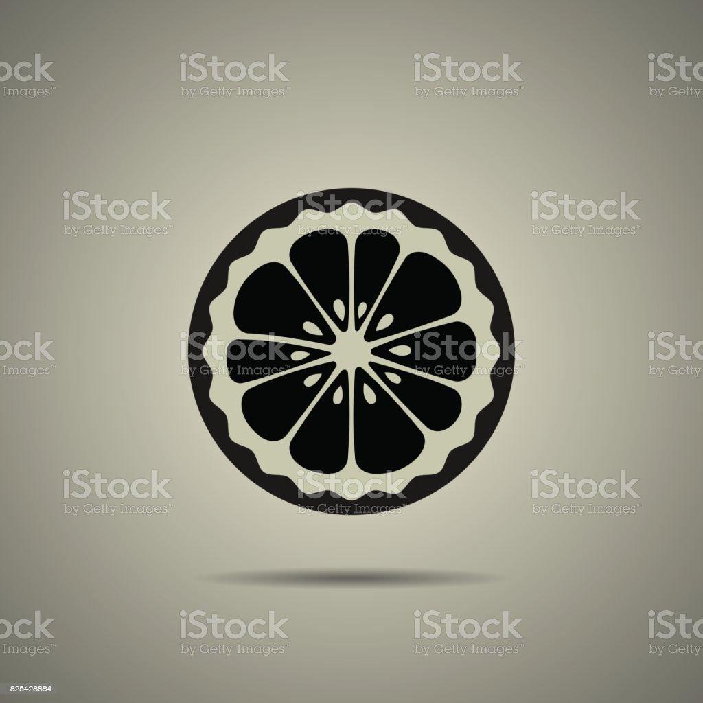 lemon slice icon vector art illustration