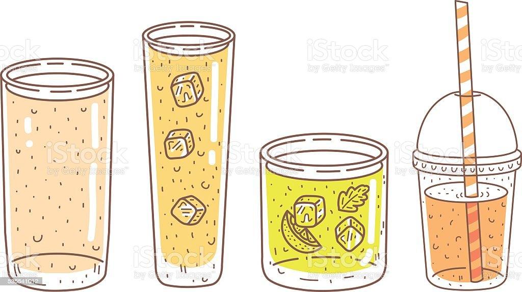 Lemonade glasses vector art illustration