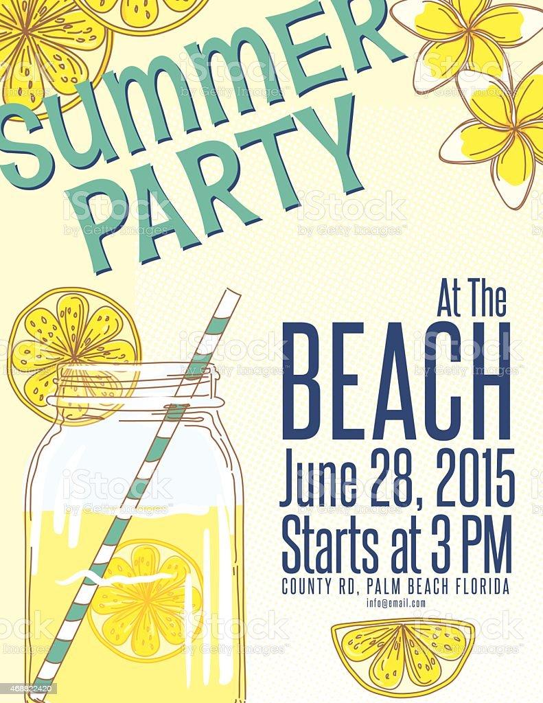 Limonade Sommer Strand Party Einladung Vorlage Lizenzfreies Vektor  Illustration