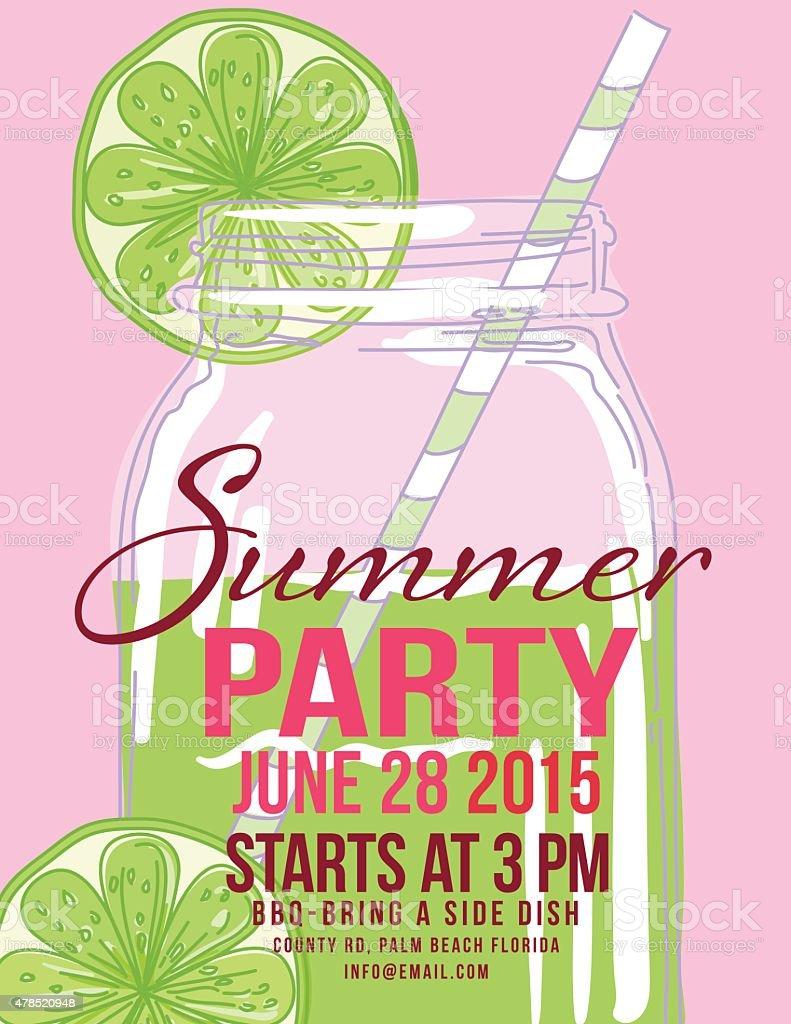 Limonade Sommer Strand Partyeinladung Vorlage Vektor Illustration,  Einladungs