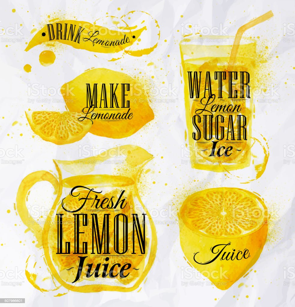 Lemonade watercolor vector art illustration