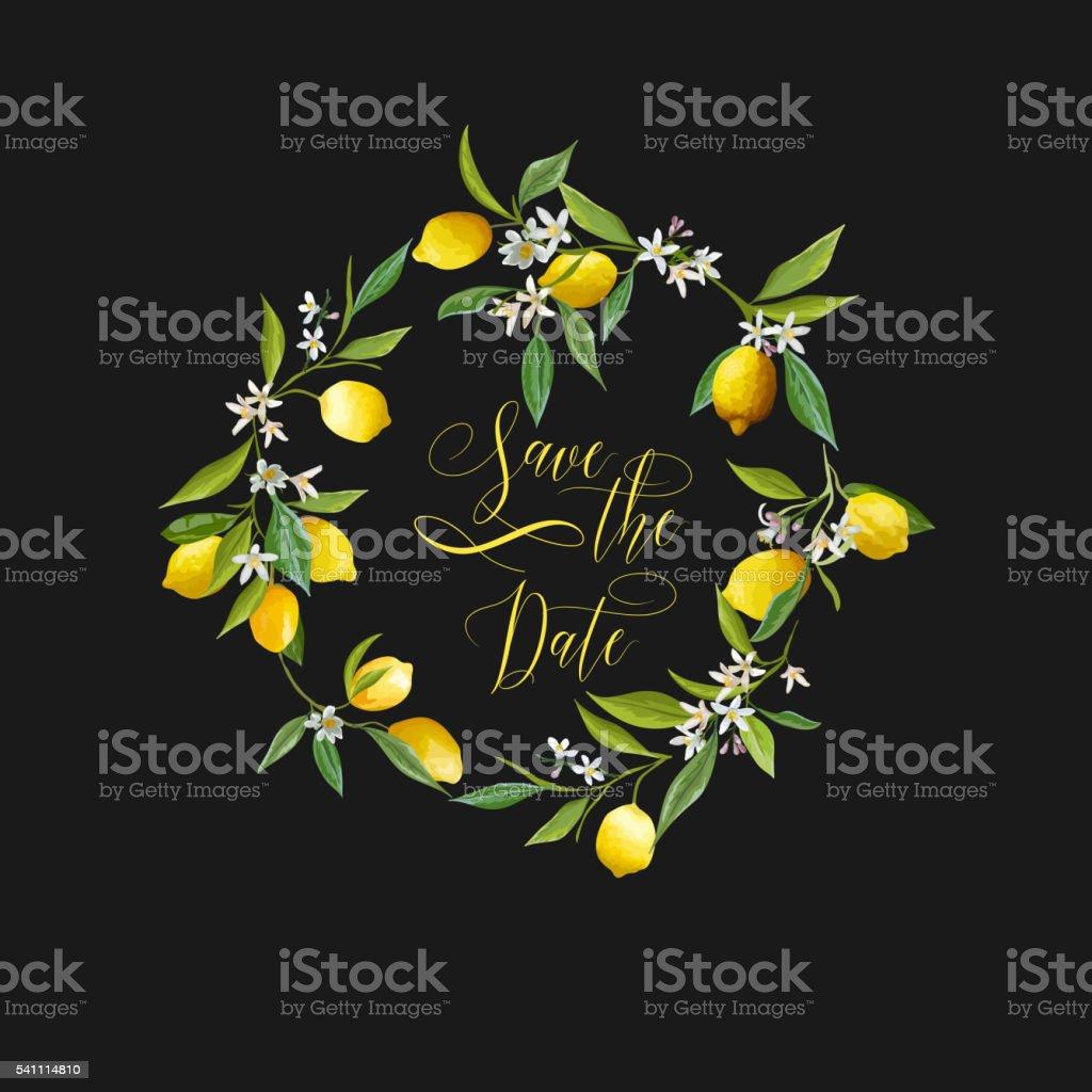 Lemons and Flowers Card. Fruit Background. Wedding Invitation vector art illustration