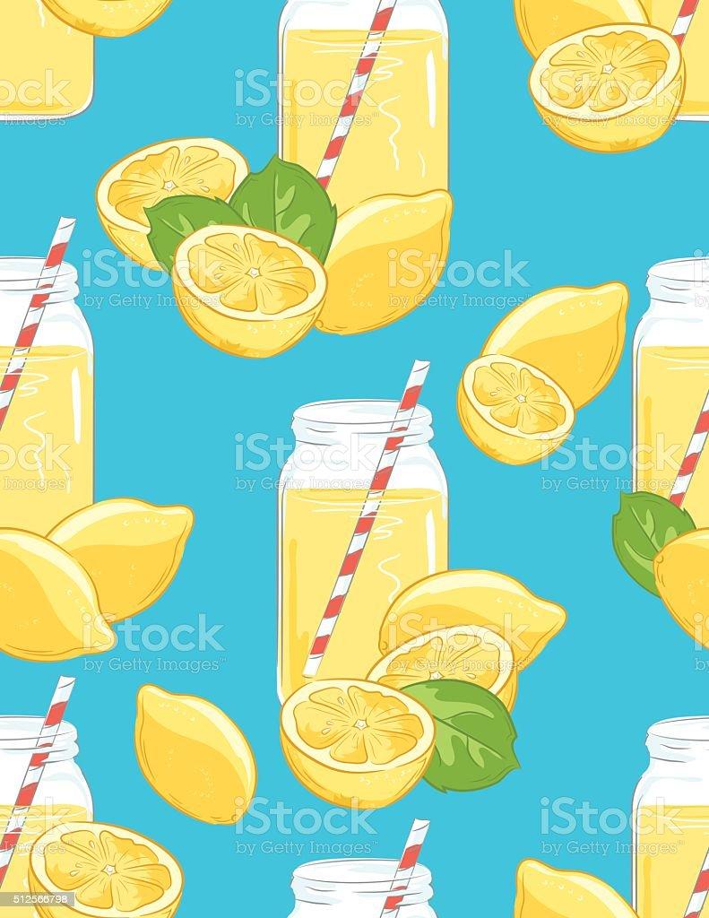 Lemons and Lemonade Seamless Pattern vector art illustration
