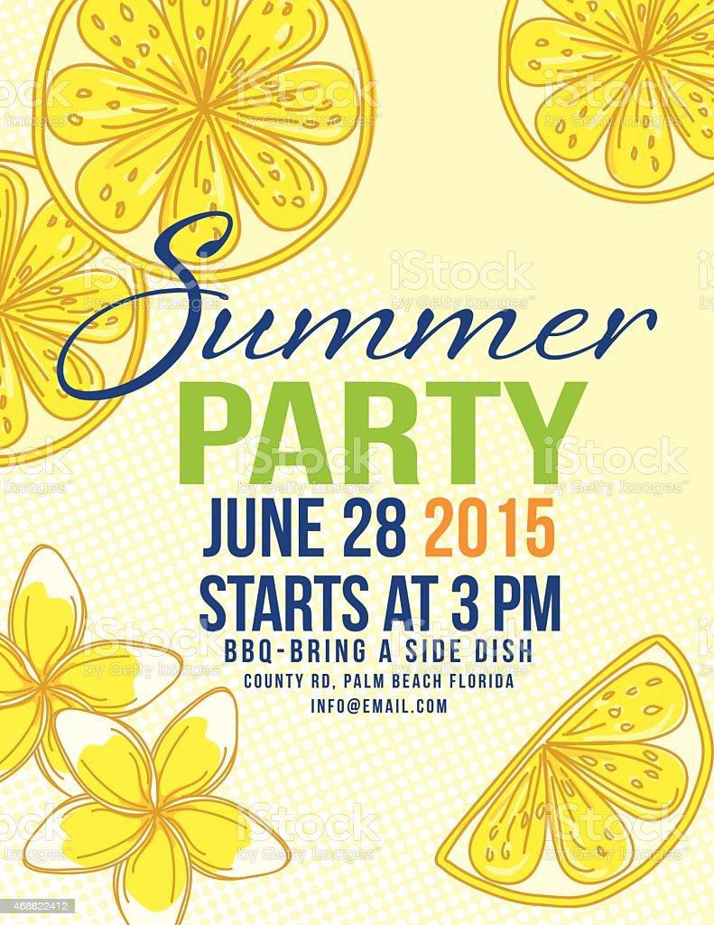 Lemons Sommer Strand Party Einladung Vorlage Lizenzfreies Vektor  Illustration