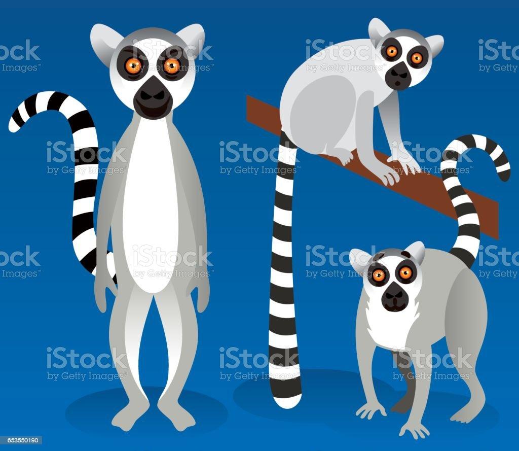 Lemurs vector art illustration