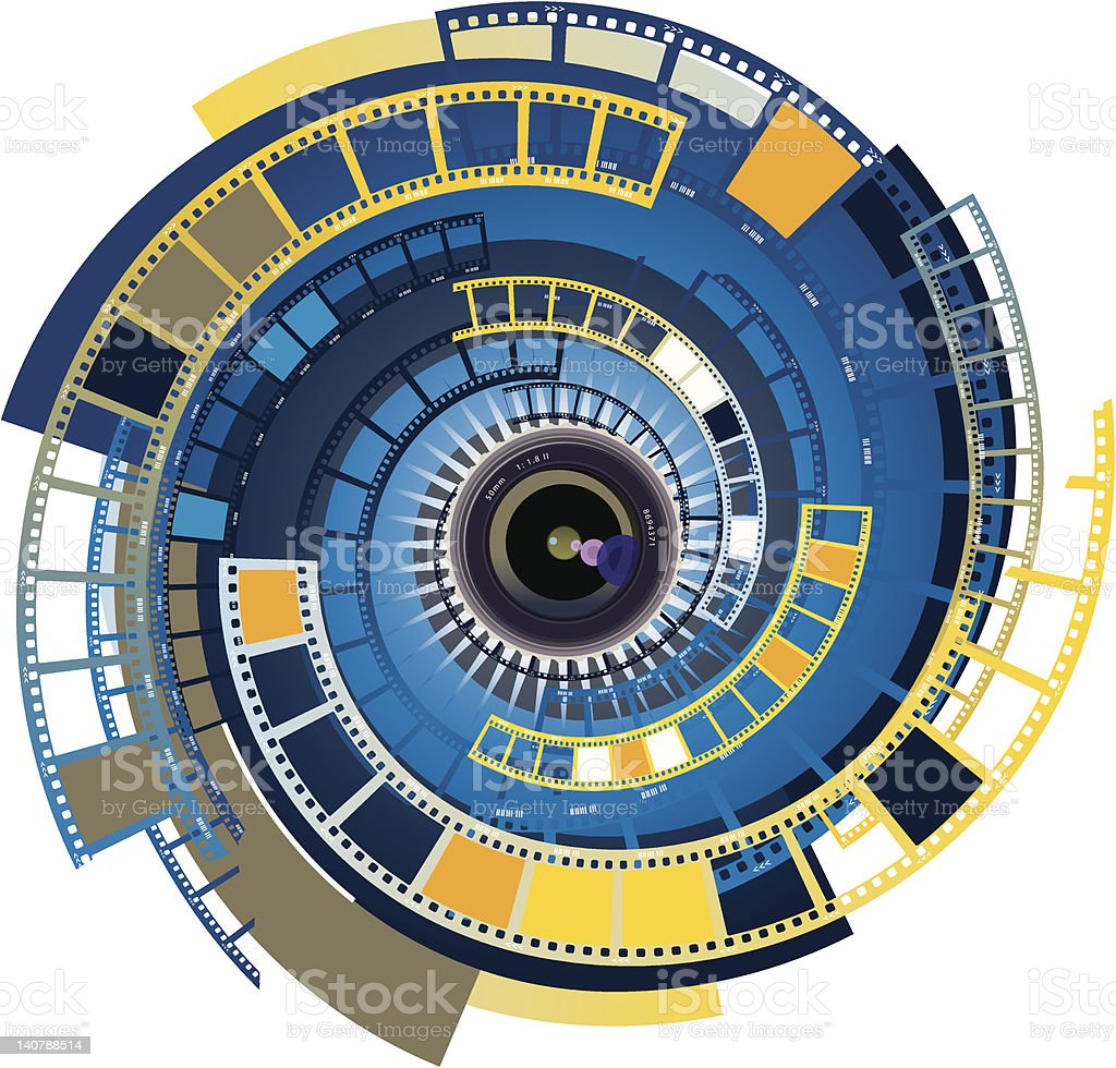 Lens camera movie 2 vector art illustration