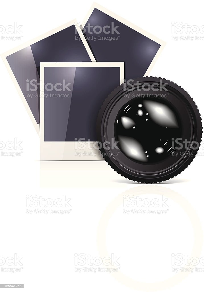 Lens with photo frame on white royalty-free stock vector art