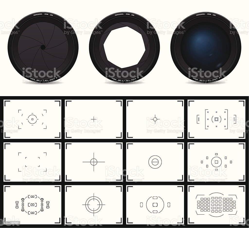 lenses and viewfinders vector art illustration