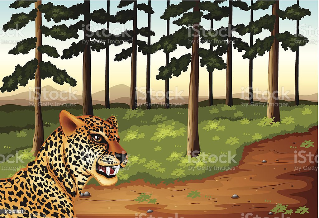 Leopard at the forest vector art illustration