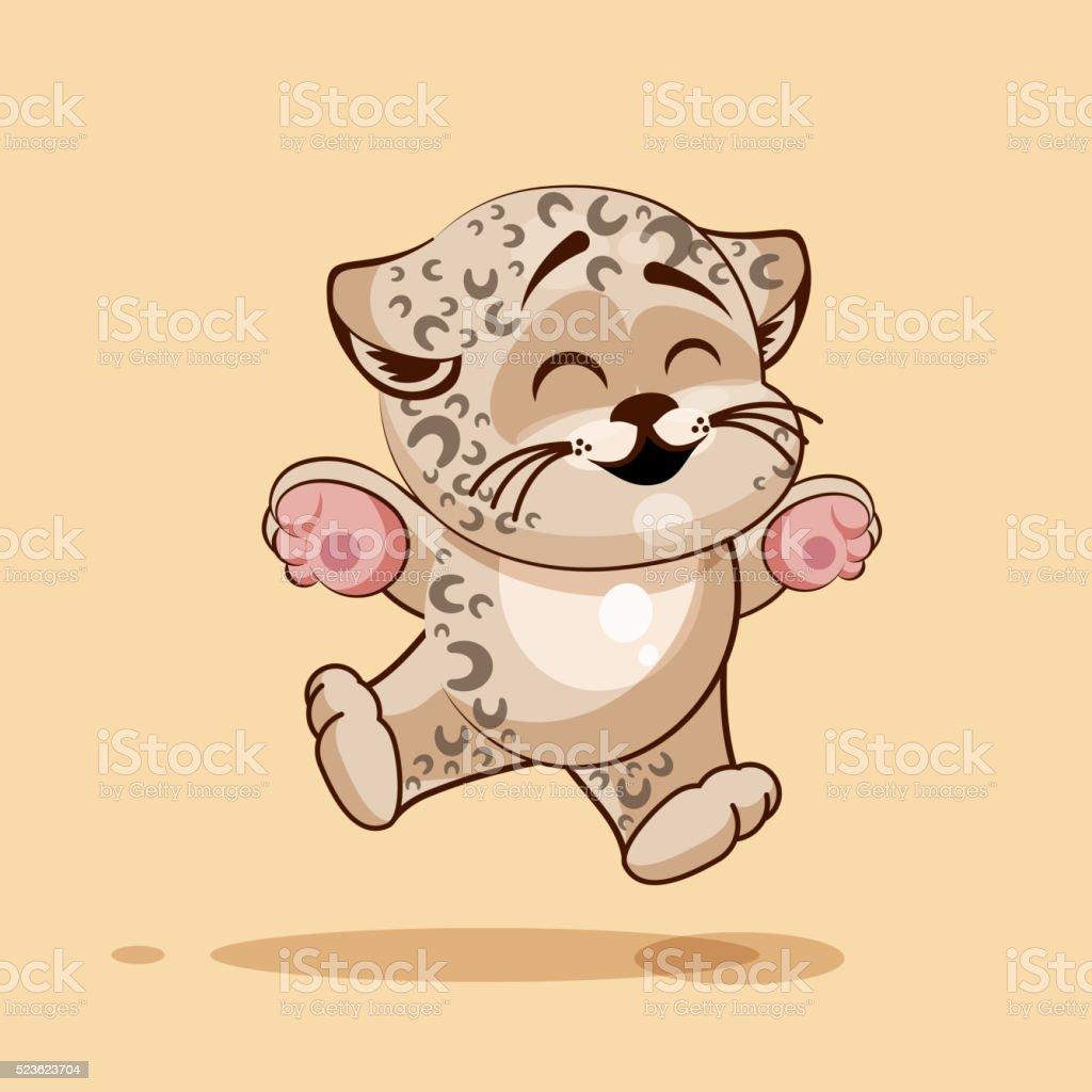 Leopard cub rejoices vector art illustration