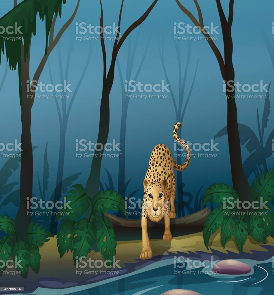 Leopard in the middle of forest royalty-free stock vector art