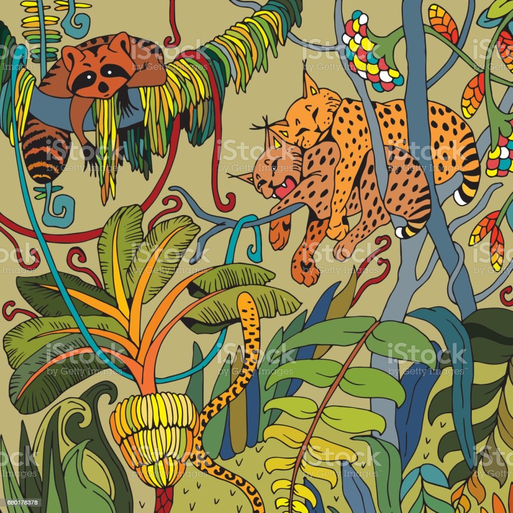 leopard in the jungle coloring page exotic flowers and wild