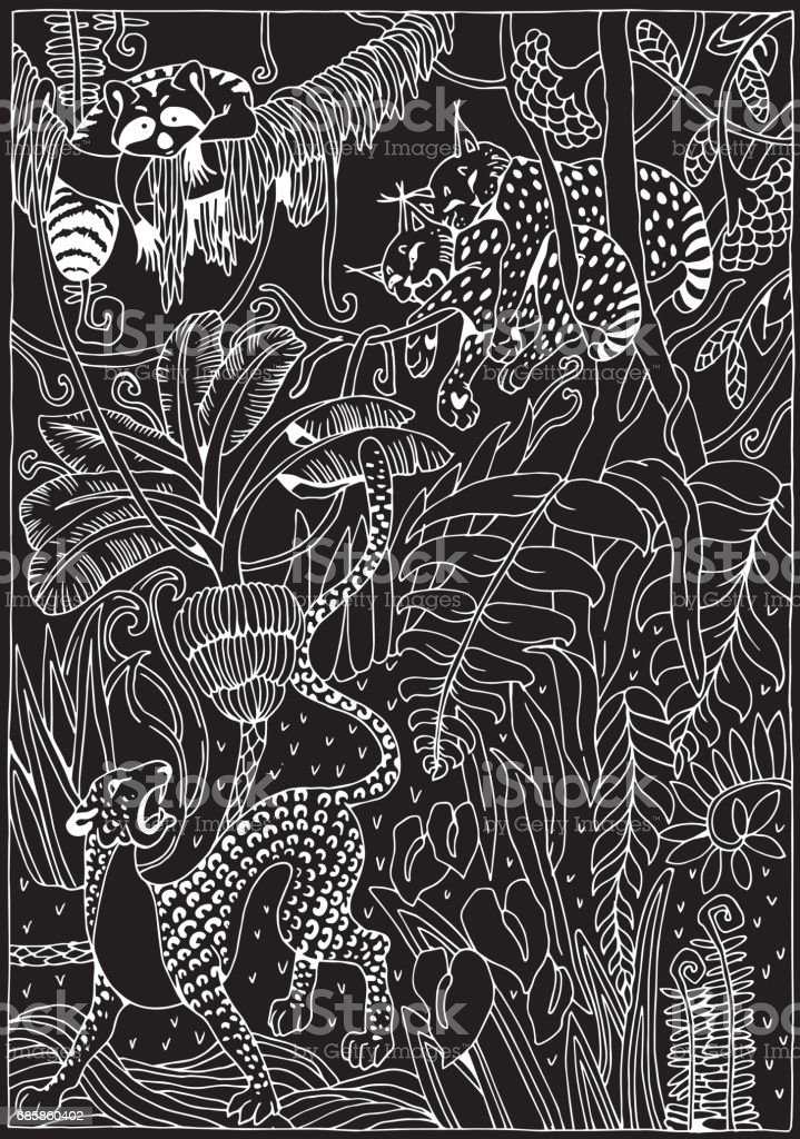 Coloring Pictures Of Animals And Flowers : Leopard lynx and raccoon in the jungle coloring page exotic