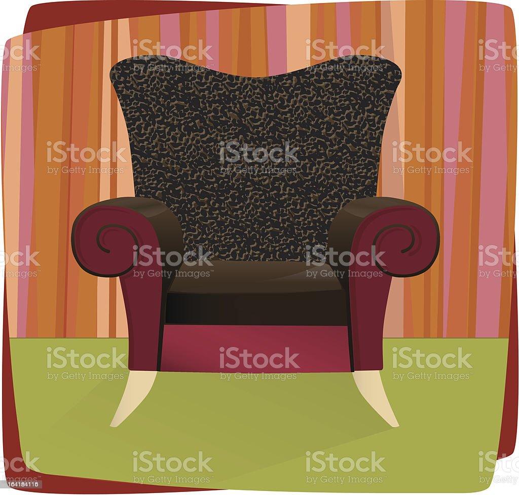 Leopard Velvet Armchair vector art illustration