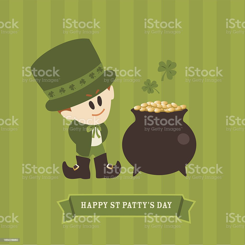 Leprachaun and Pot Of Gold On St. patrick's day royalty-free stock vector art