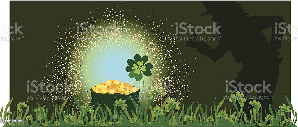 Leprechaun and golden pot on St Patric's day vector art illustration