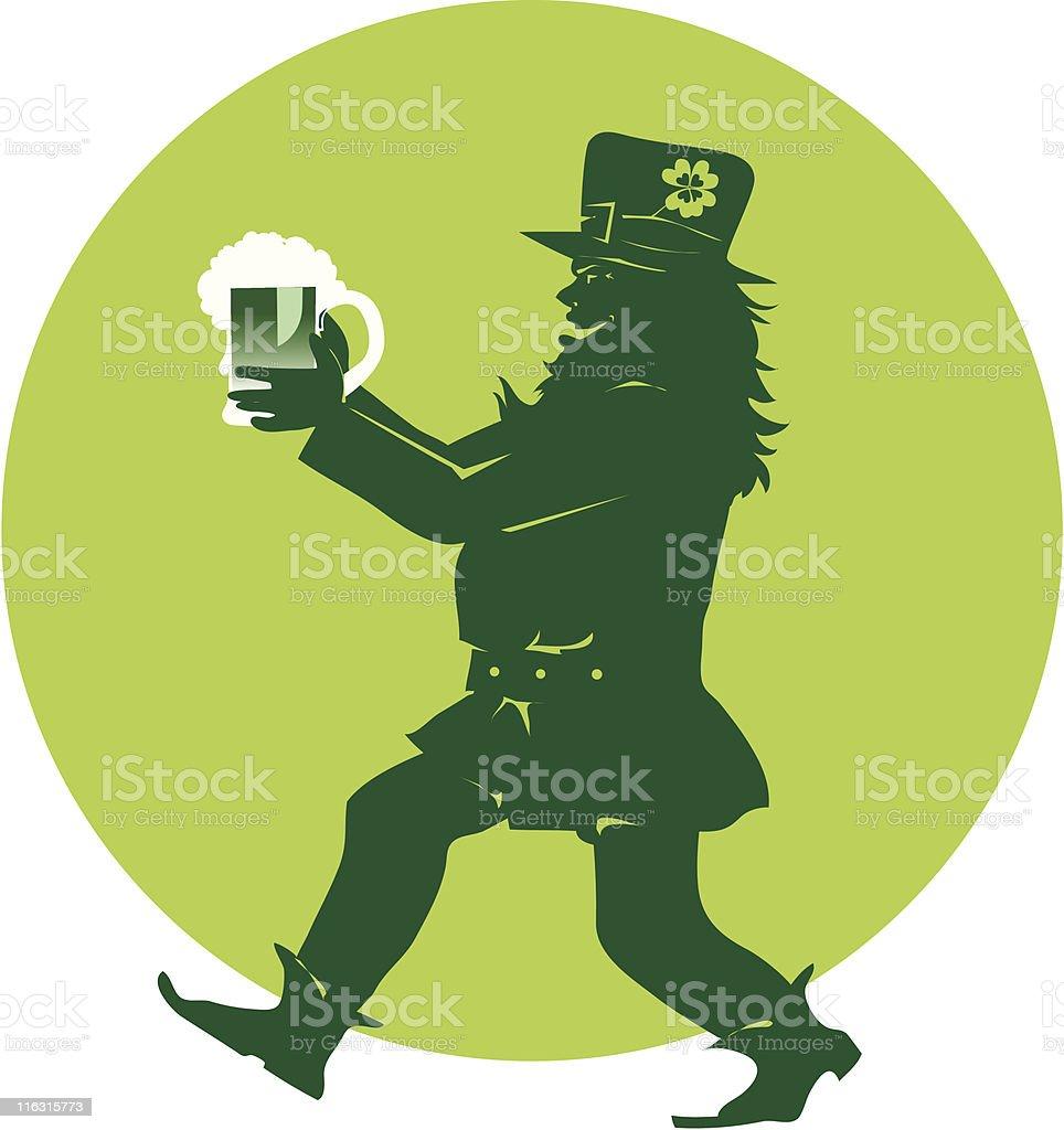 Leprechaun bringing beer on st. Patric Day vector art illustration