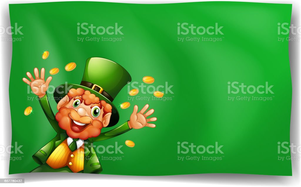 Leprechaun character on green background vector art illustration