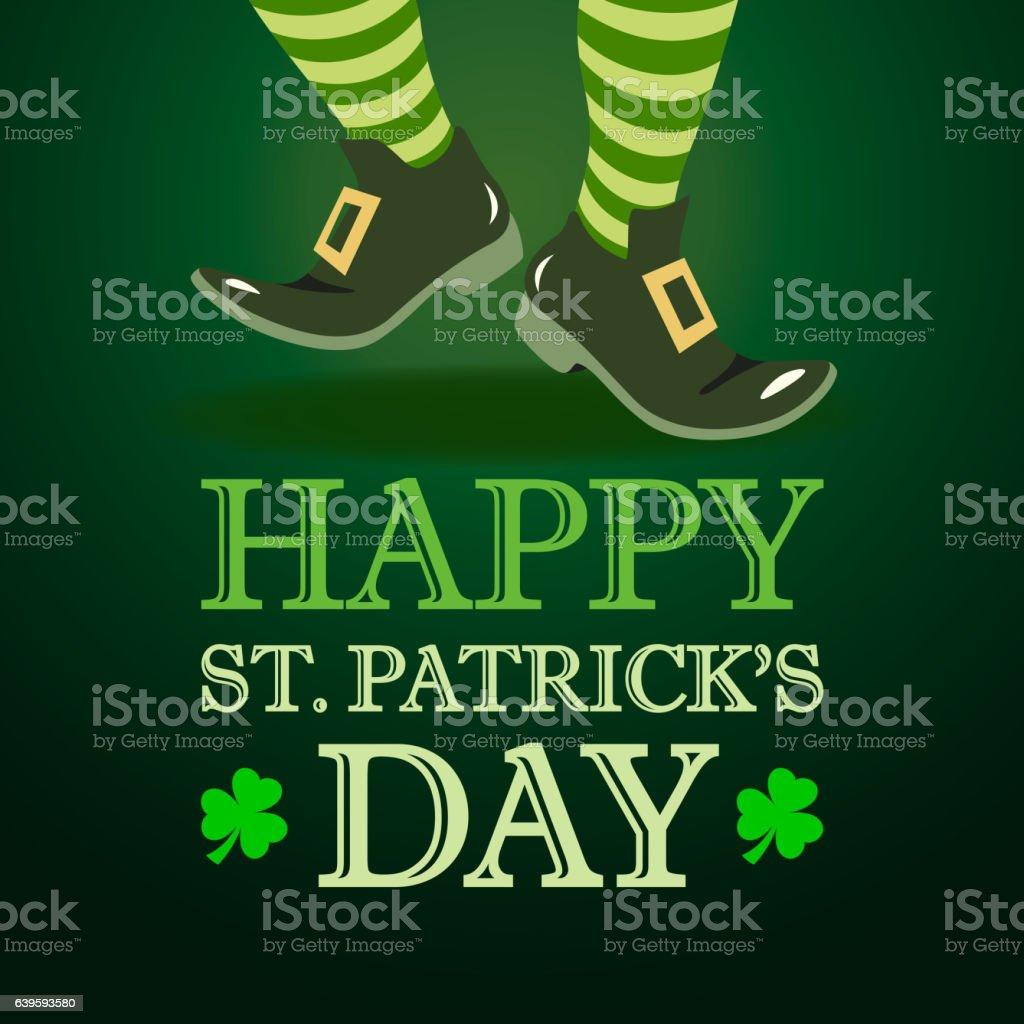 Leprechaun Dancing on St. Patrick's Day vector art illustration