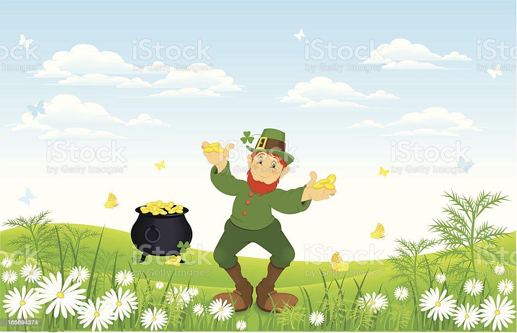 Leprechaun on meadow royalty-free stock vector art