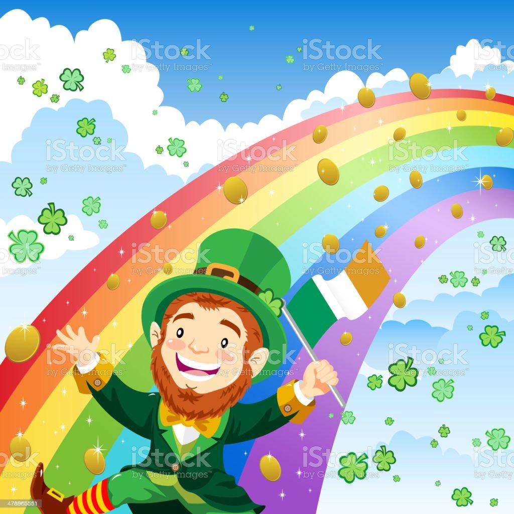 Leprechaun on the Rainbow royalty-free stock vector art