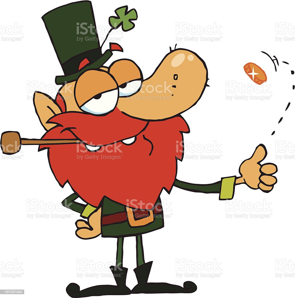 Leprechaun Smoking Pipe And Flipping A Gold Coin royalty-free stock vector art