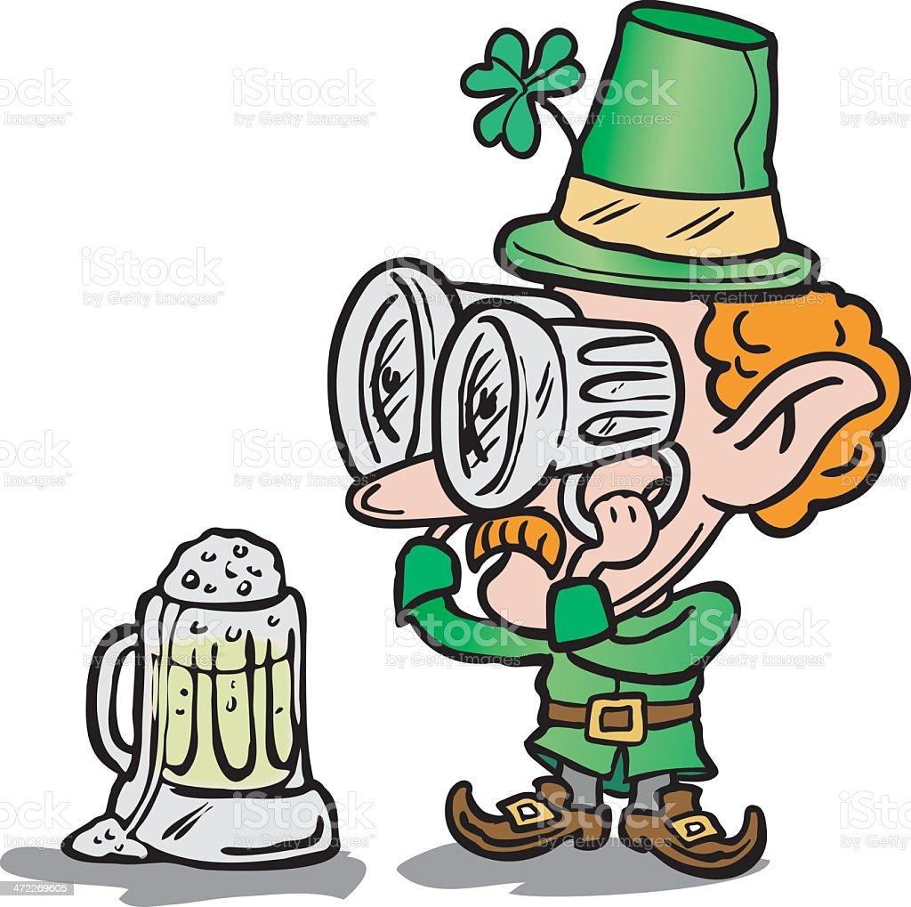Leprechaun with beer goggles. royalty-free stock vector art