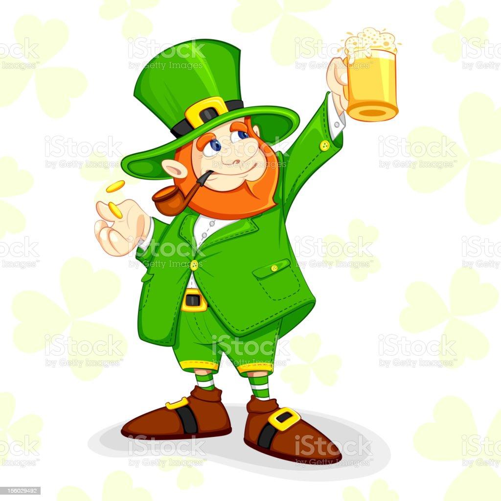 Leprechaun with Beer Mug royalty-free stock vector art