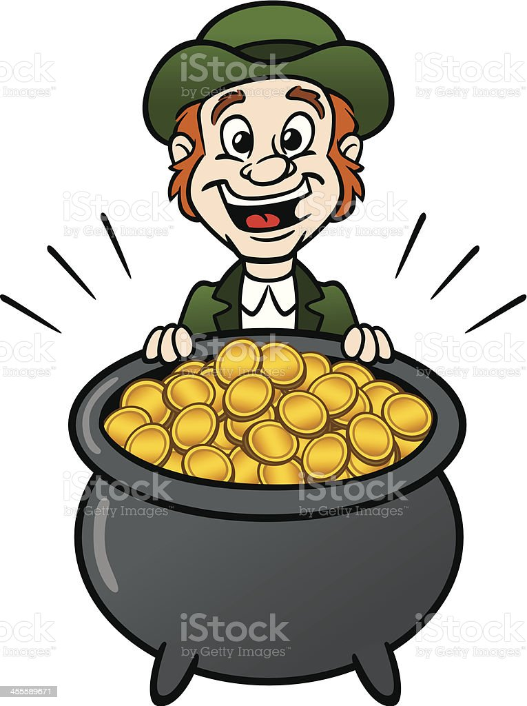 Leprechaun With Pot Of Gold royalty-free stock vector art