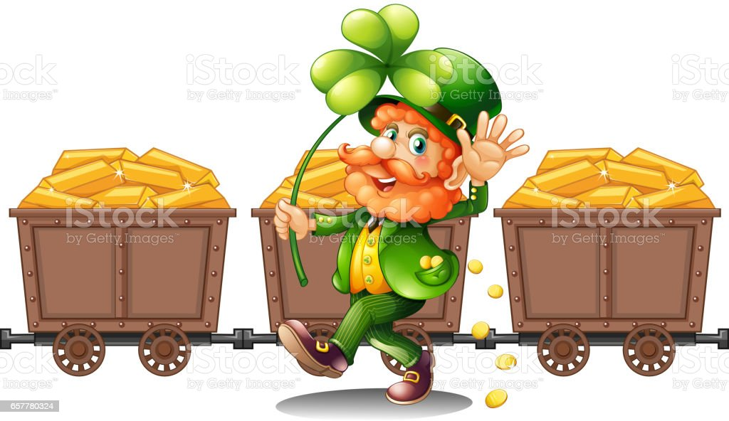 Leprechaun with three carts of gold vector art illustration