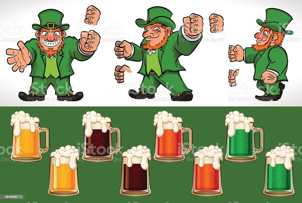 Leprechauns and Beer vector art illustration