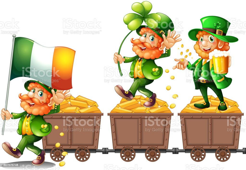 Leprechauns standing on gold vector art illustration