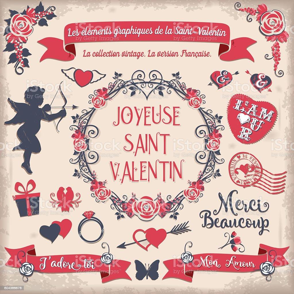 Les éléments graphiques de la Saint-Valentin vector art illustration