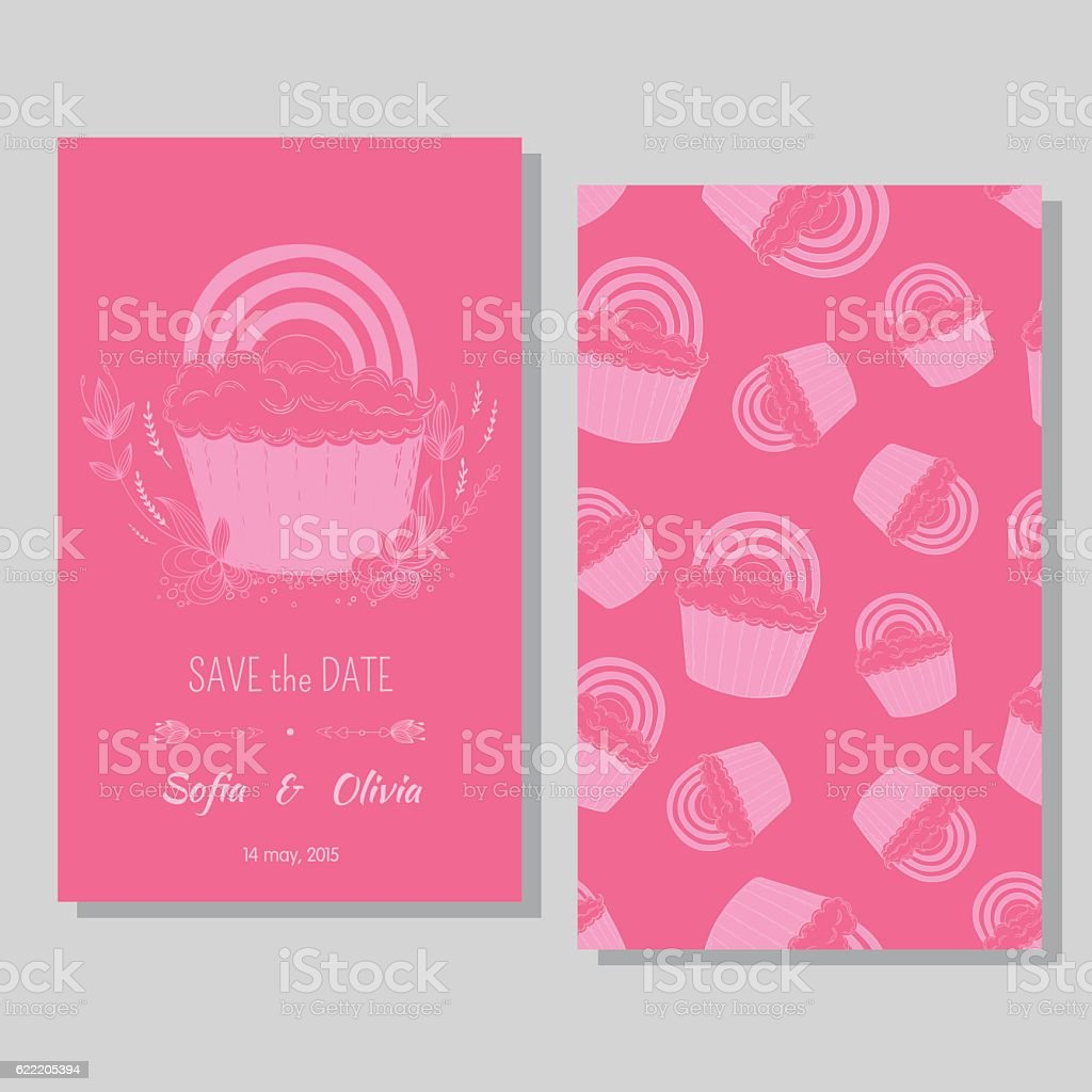 Lesbian couple card - save the date vector art illustration