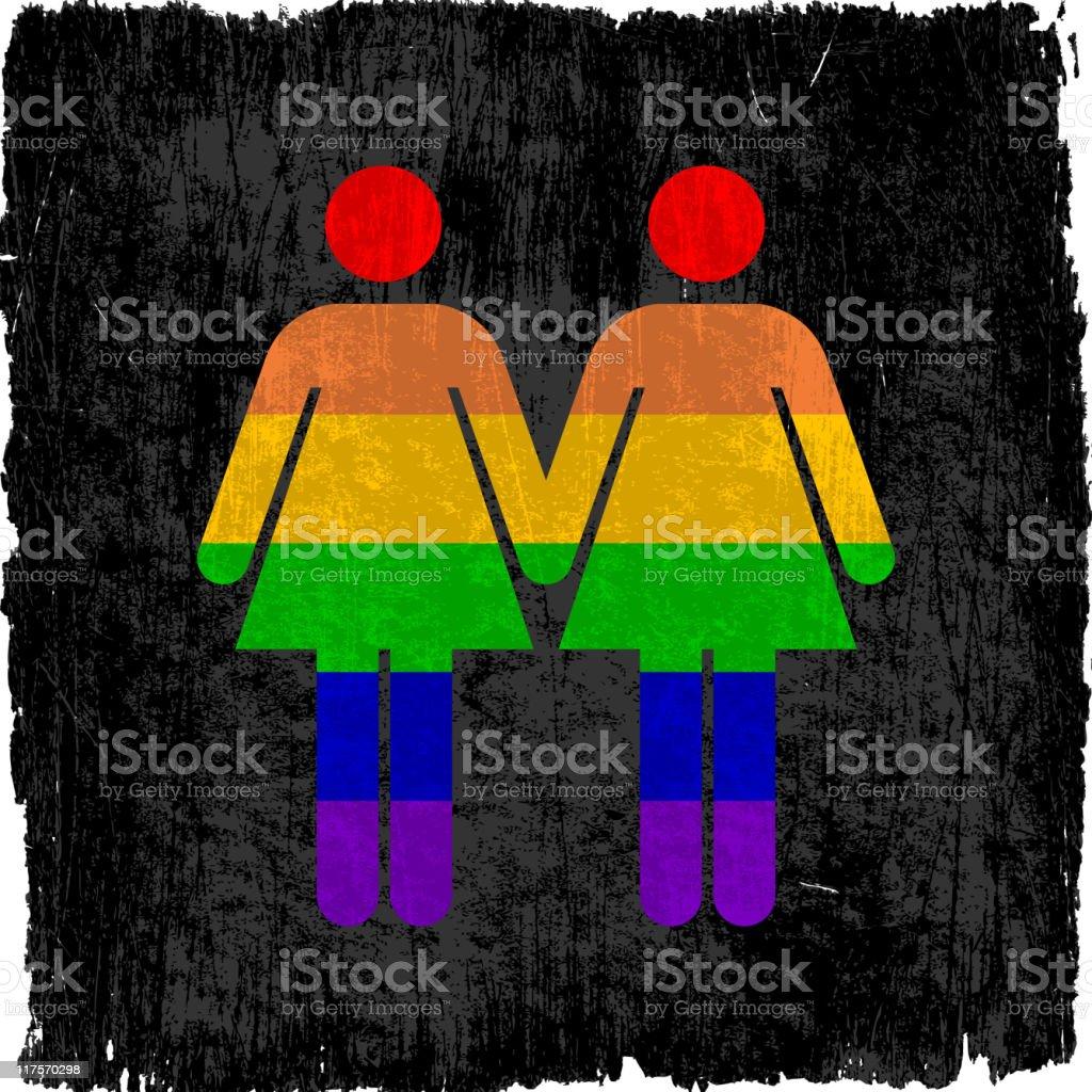 lesbian couple on royalty free vector Background vector art illustration