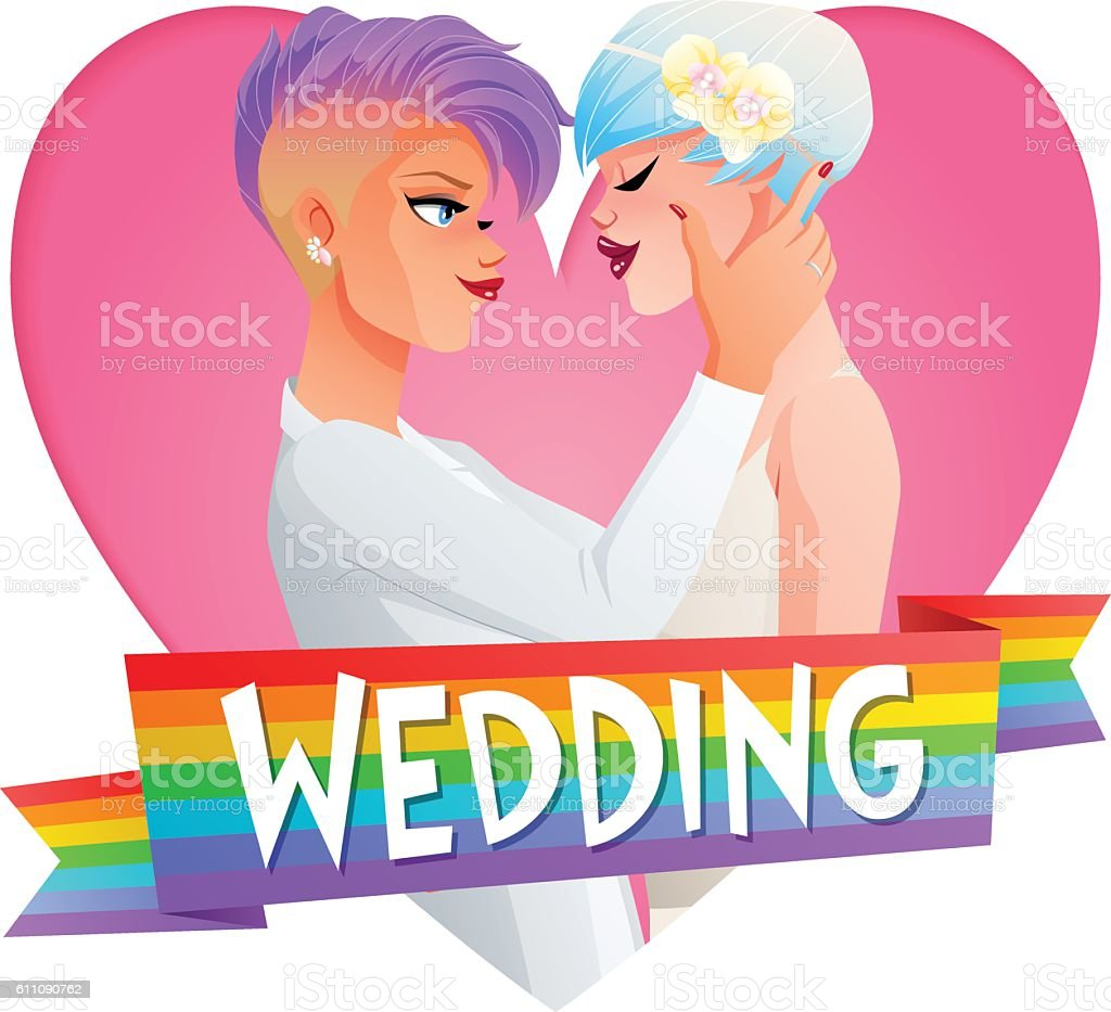 Lesbian couple wedding. Vector image with text. vector art illustration