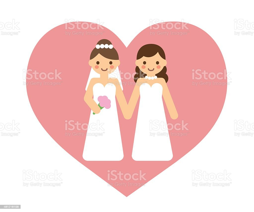 Lesbian wedding couple vector art illustration