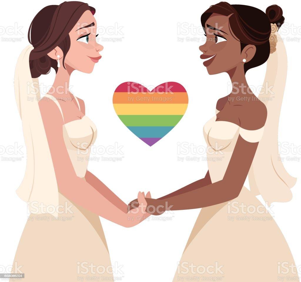 Lesbian Wedding vector art illustration
