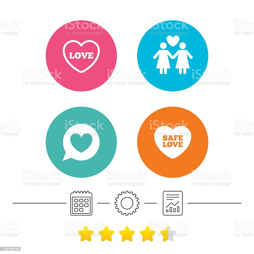 Lesbians couple sign. Speech bubble with heart. . vector art illustration