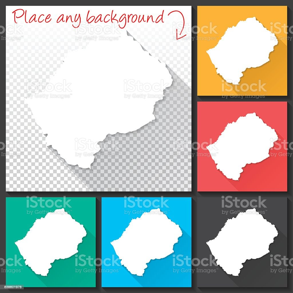 Lesotho Map for design, Long Shadow, Flat Design vector art illustration