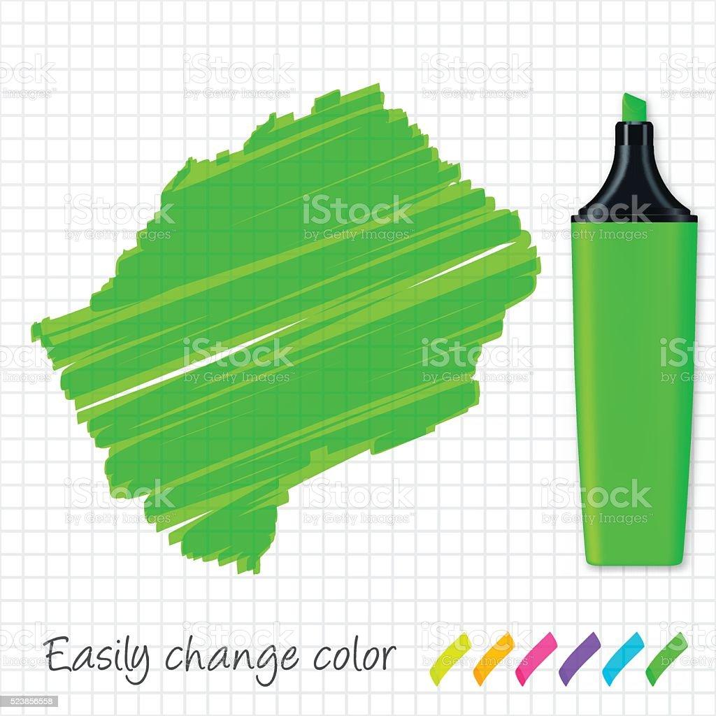 Lesotho map hand drawn on grid paper, green highlighter vector art illustration