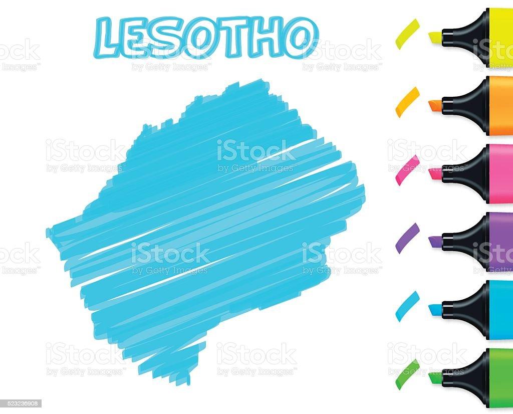 Lesotho map hand drawn on white background, blue highlighter vector art illustration